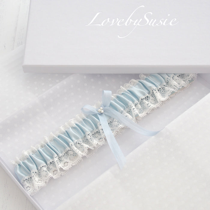 Aurelie Blue Silk Wedding Garter, Blue Bridal Garter, Blue Garter, Silk wedding Garter, Lace Wedding Garter, Something blue Garter, luxury wedding garter, Blue Silk Garter, Blue bridal garter, ivory lace garters, silk wedding garters