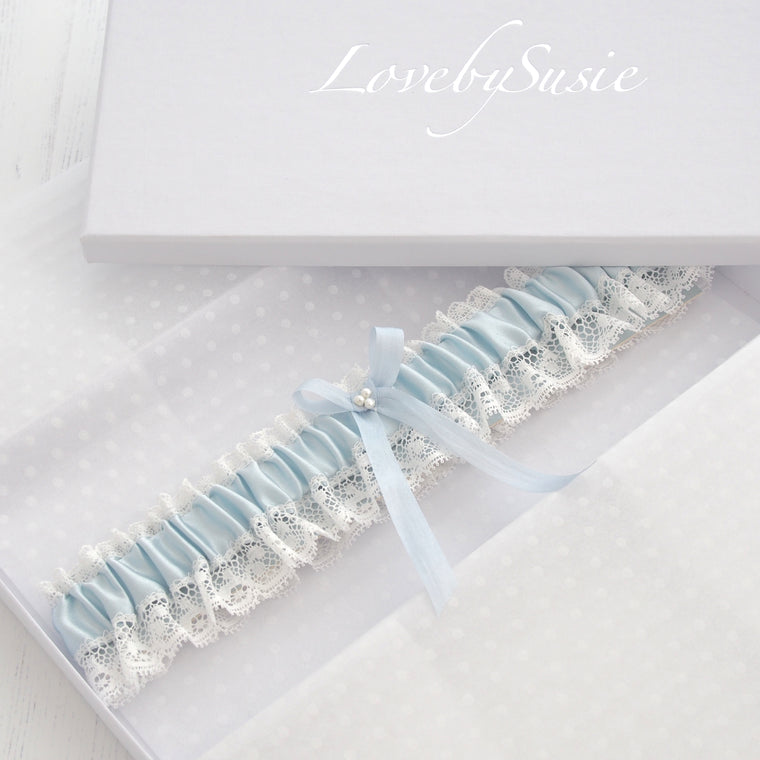 Aurelie Blue Silk Wedding Garter, Blue Bridal Garter, Blue Garter, Silk wedding Garter, Lace Wedding Garter, Something blue Garter