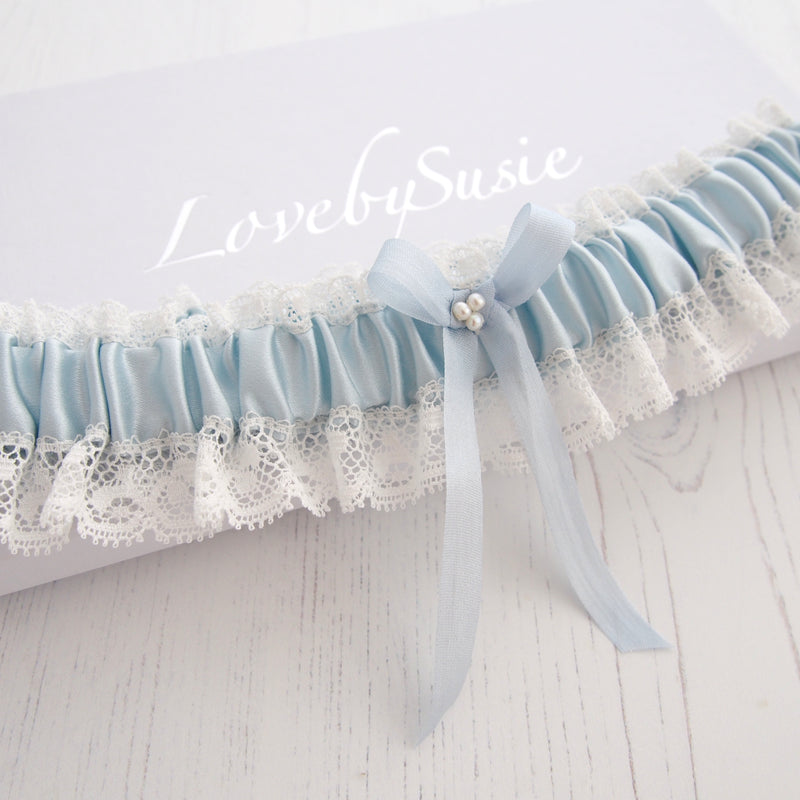 Something Blue Silk Wedding Garter Aurelie