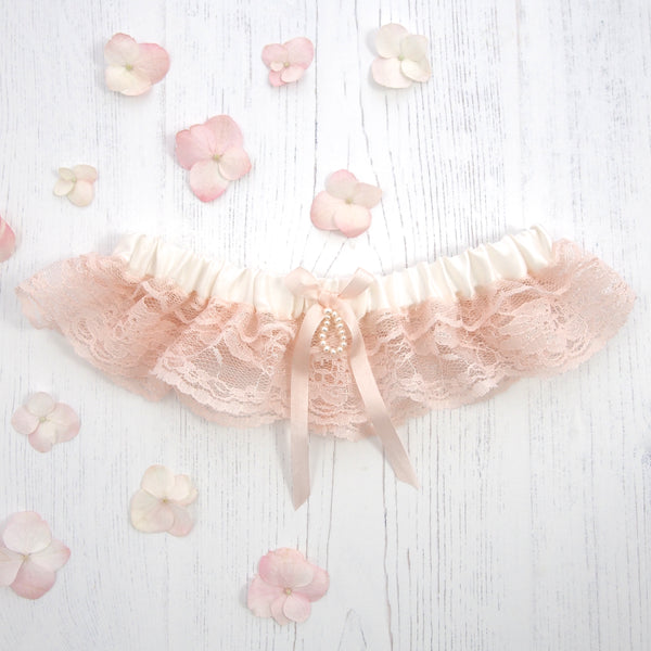 Ophelia Rose Ivory Silk and Blush Pink Lace Wedding Garter, Pink Wedding Garter, Silk wedding garter