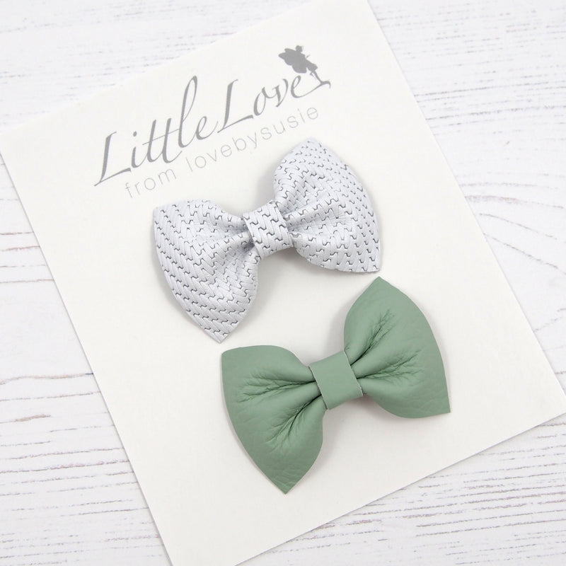 Baby or Toddler leather bow hair clip set in white and mint green leather this Easter, girls White Leather Bow Hair Clip, Green and White Hair Bow Set, Green Hair Bow clip for girls, White bow hair clip for toddler, Leather Bow Hair Clip, Little Love Leather Bow Hair Clip, Little Love Bows, White Leather toddler Bow Clip
