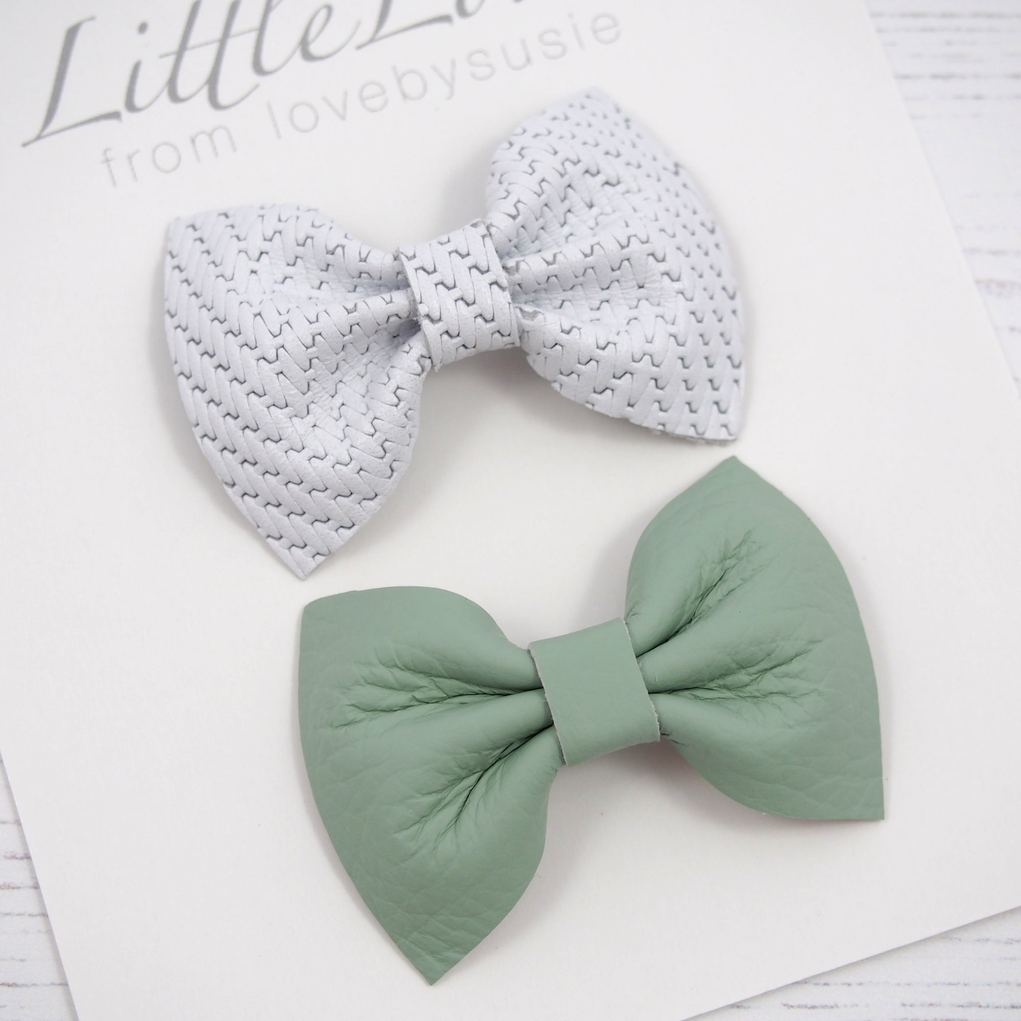 ... Baby or Toddler leather bow hair clip set in white and mint green  leather this Easter 97e873deab0