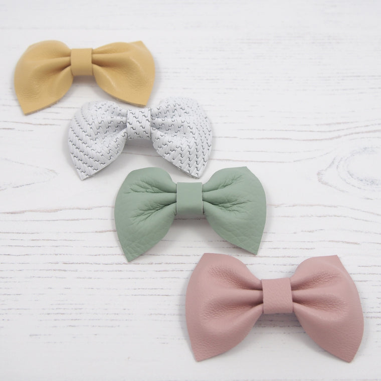 Baby or Toddler leather bow hair clip set in pink and yellow leather this Easter, Baby Bow Hair Accessories, Pale pink Baby Bow, Easter gift for girls, Little Love Leather Bows