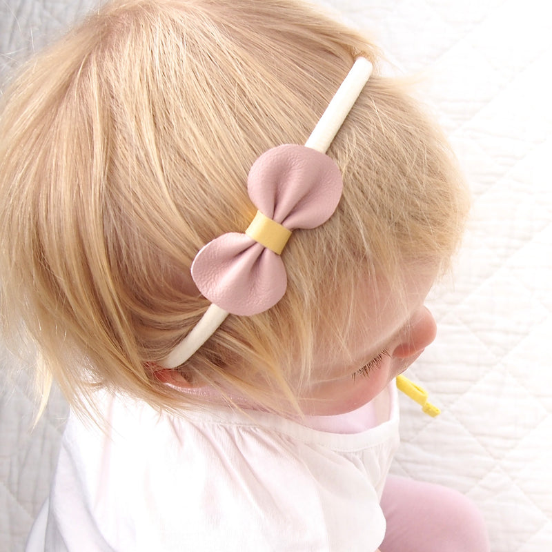 Mini Bow Toddler Baby Leather Bow Headband Pale Pink and Yellow form Little Love Girls Accessories