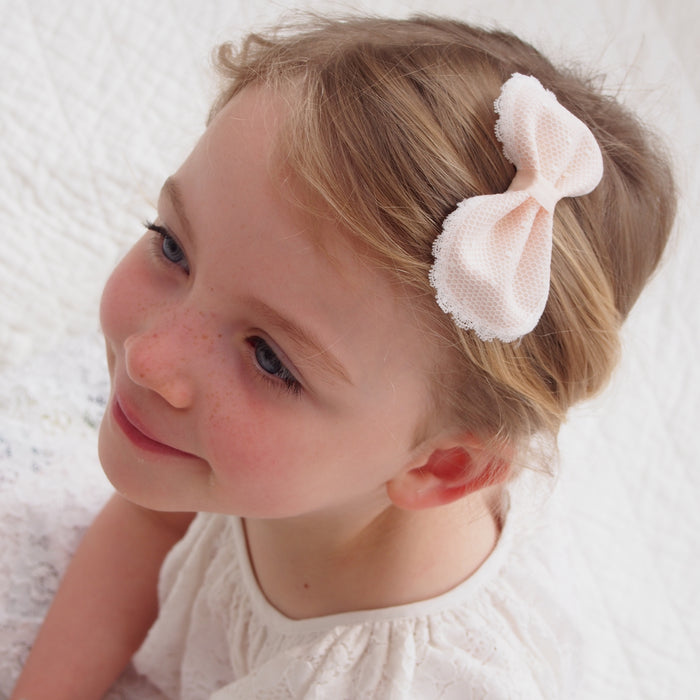 Chloe Lace Flower Girl Bow Hair Clip, Pink Lace Bow, Flower Girl Hair Bow, Little Love, girls Hair accessories, Flower girl pink bow