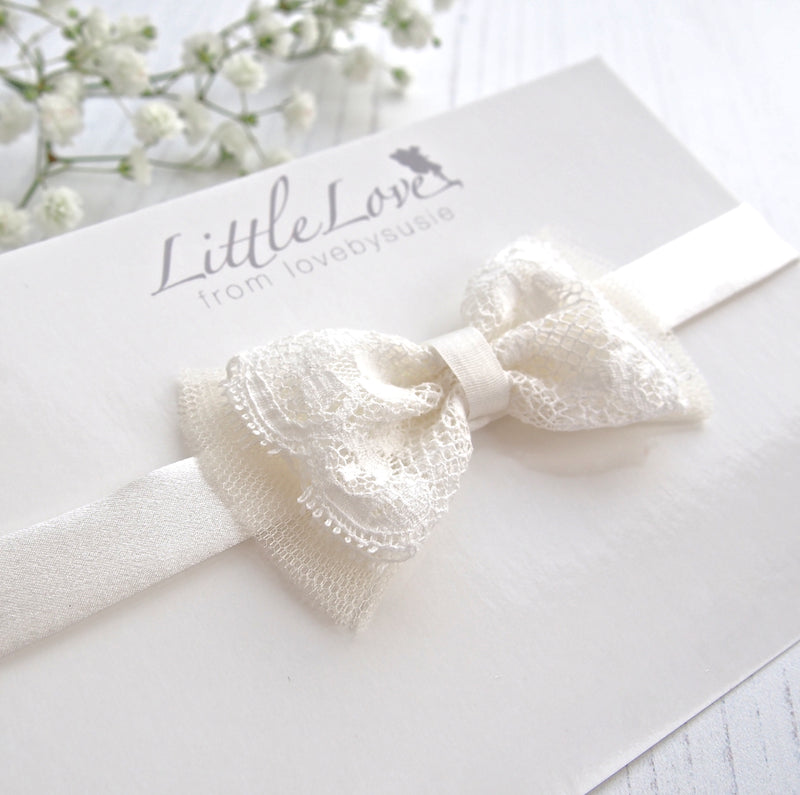 Little Love Christening Headbands for babies and toddlers, lace bow baby headband, Ivory silk baby Headband, Christening headband for baby,  Ivory silk headband beautiful for christening or wedding, Ivory Silk Baby Headband for baptismm, Baptism headband for baby, lace bow baby headband, Silk Babies Hairband,