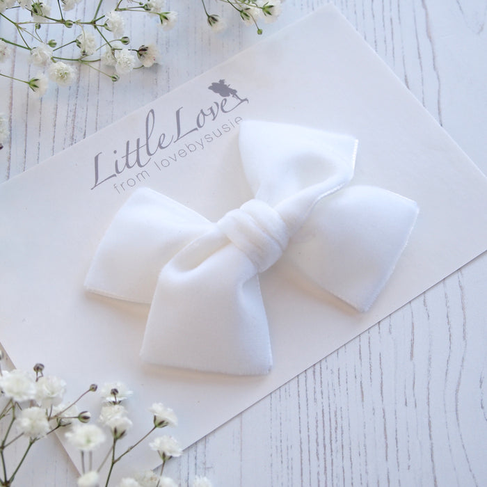 Little Love velvet bow hair clip in Ivory or White, flower girl bow hair clip, large velvet bow uk, ivory velvet hair bow, bow for flower girl, white flower girl bow, Ivory hair bow in velvet, velvet hair bows, flower girl hair accessory, Ivory bow for flower girl, Velvet hair bows,White bow for flower girls hair