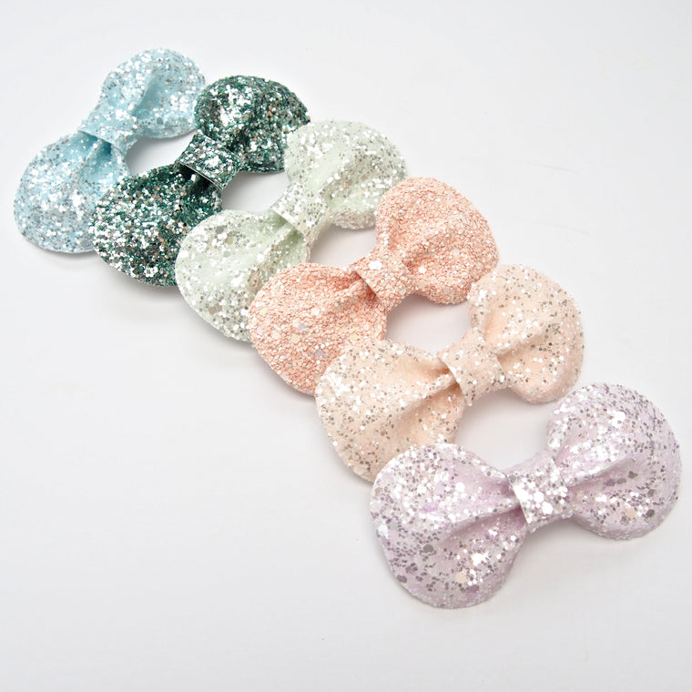 Glitter Bow Hair Clip / Emerald