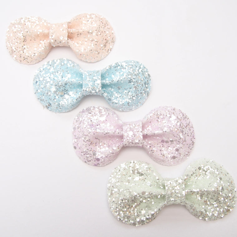 Glitter Bow Hair Clip / Twinkly Pastels