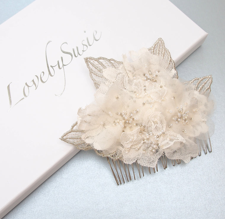 Ishia Beaded Lace Fauna Bridal Comb from Lovebysusie Wedding Hair Accessories