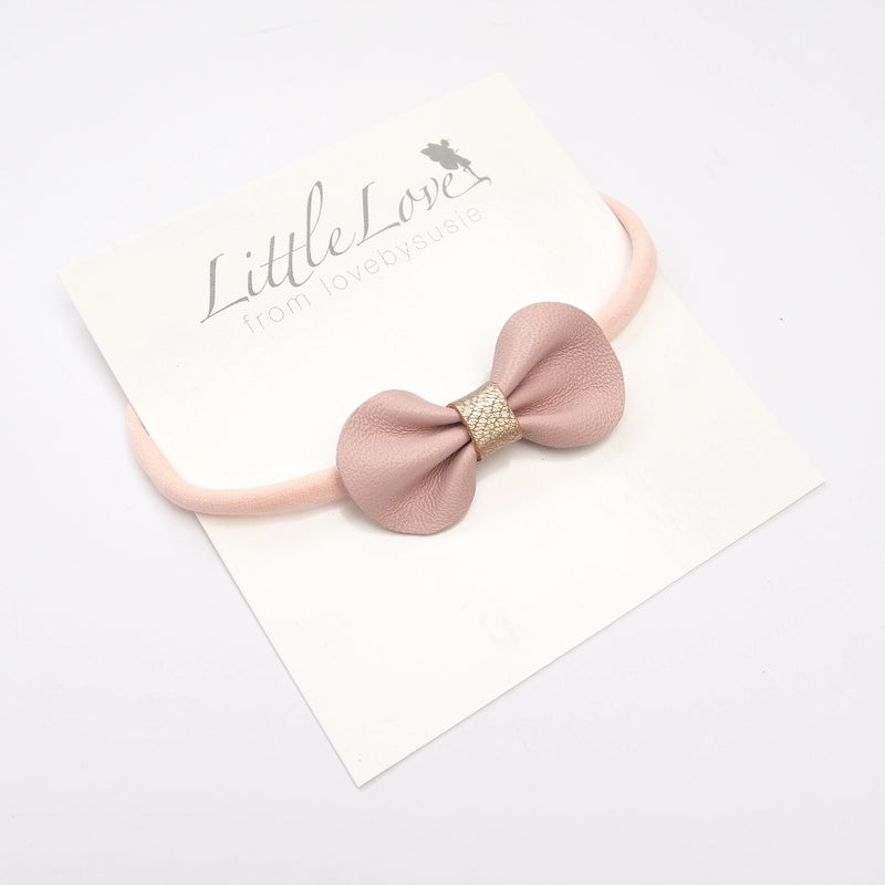 Mini Bow Baby Toddler Bow Headband in Pale Pink or White with Rose Gold from Little Love Girls Accessories, Baby Bow Headband, Luxury Baby, Baby Hair bow, toddler Bows, Toddler Headbands