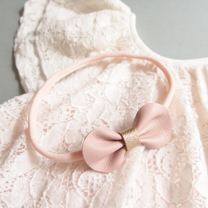 Mini Bow Baby Toddler Bow Headband with Rose Gold, perfect for Flower Babies, Flower Girls and christenings from Little Love girls Accessories