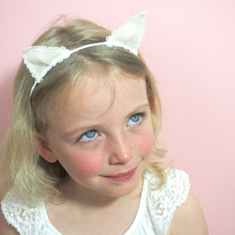 Lace Kitten Ears Hairband, Cat Ears Hairband, Lace Cat Ears, Little Love, Girls Hair Accessories, Girls Hairband, Ivory Lace Cat Ears, Cat Hairband for Girls, Flower Girl Hairband