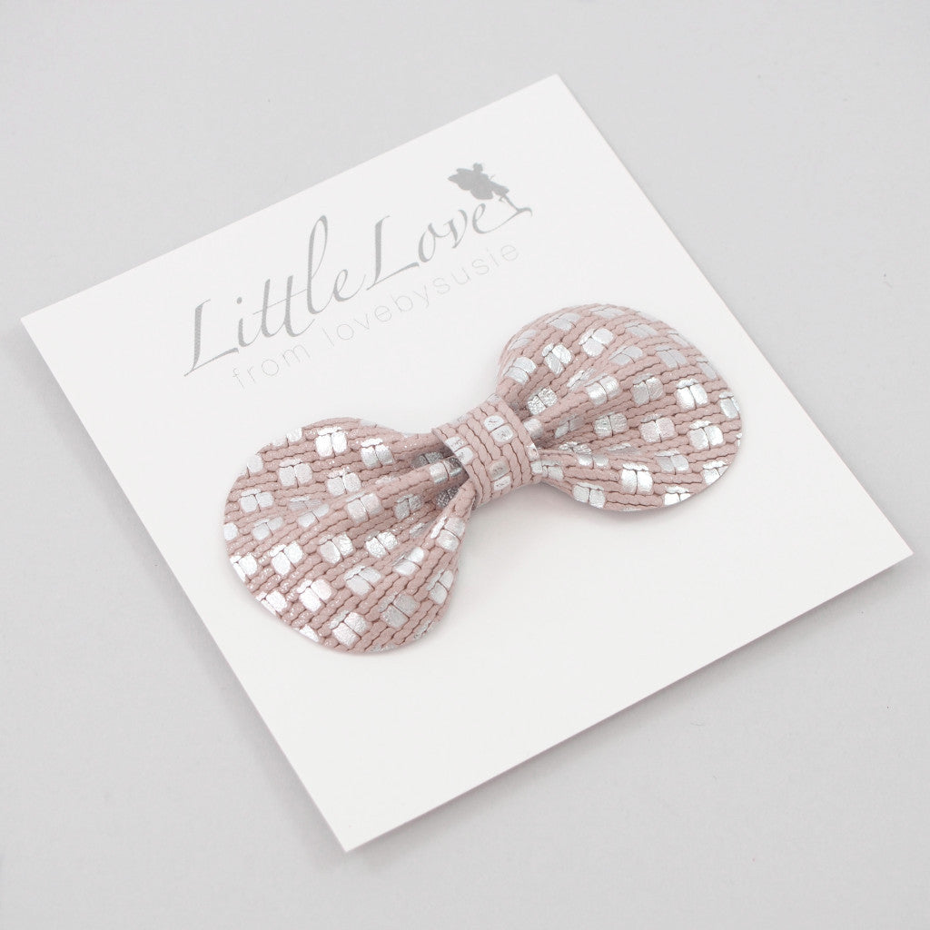 Woven Leather Bow Hair Clip / Silver
