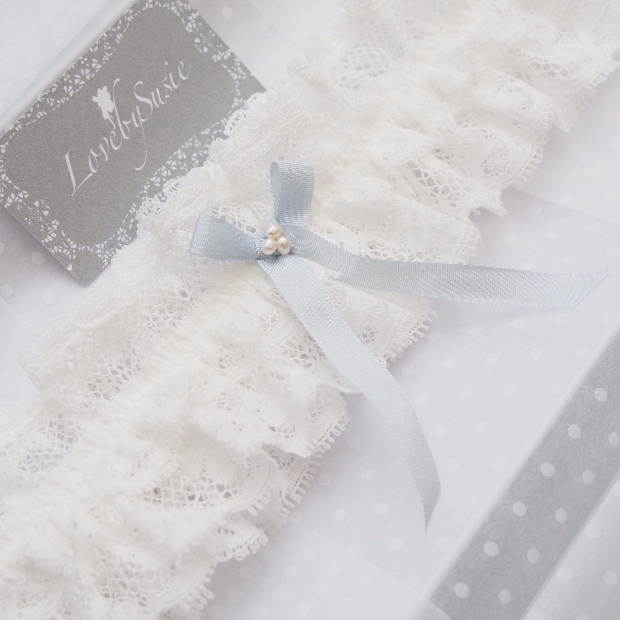 Luella Ivory Lace Wedding Garter With Pearls And Something Blue Silk Bow Luxury