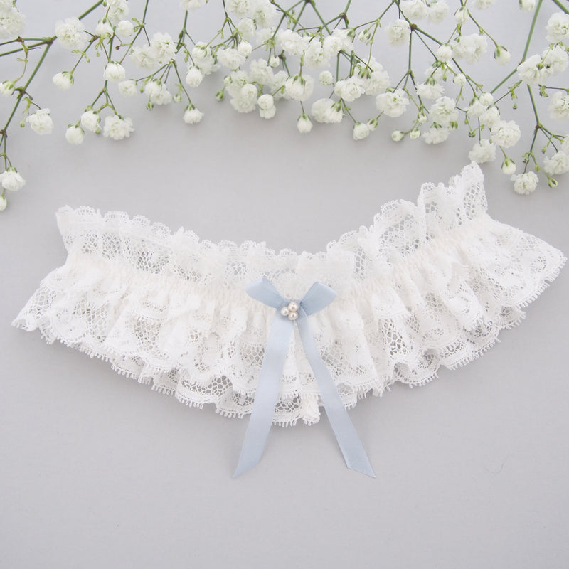 Luella Ivory Lace Wedding Garter with pearls, Something Blue Silk Bow, Luxury wedding garter, Ivory Lace Garter, Ivory Lace Bridal Garter, Silk Wedding Garter, Garters, Garter, Something Blue Garter