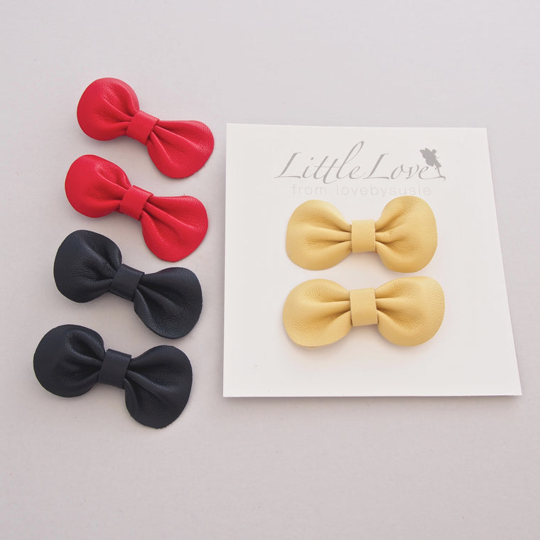 Mini Bow Hair Clip Duo / Primary Colours