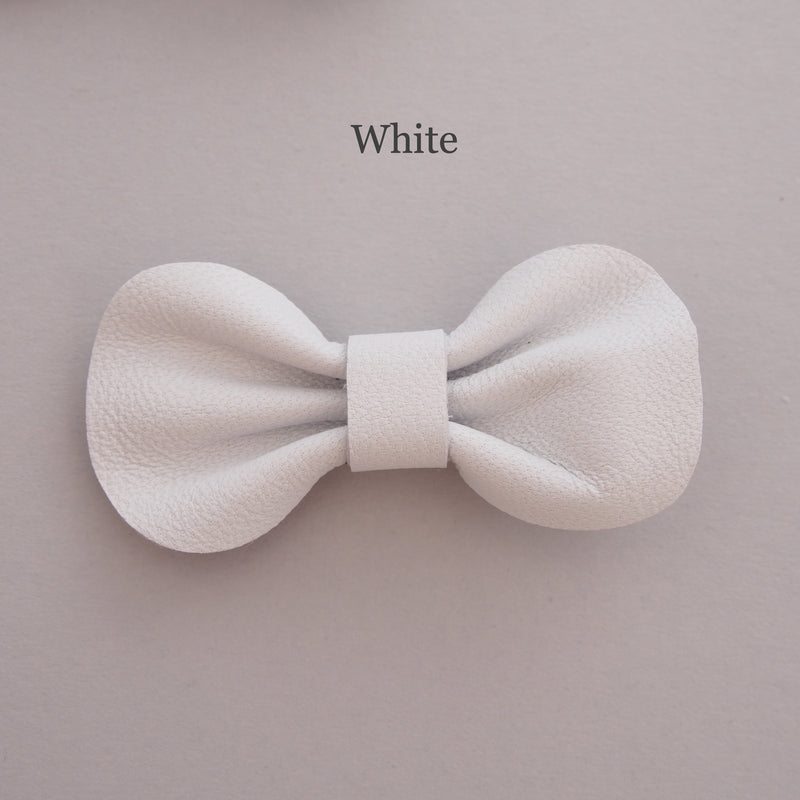 Mini Leather bow hair clip set, white hair bow for toddler, pick your own colour bows, white bows for babies, bows for toddlers, white bows for girls, custom bow hair clip colours, baby bow hair clips, Baby hair clips, Toddler hair clips, white leather bows, white baby hair clips, white hair bows, mini bows in white for babies and toddlers
