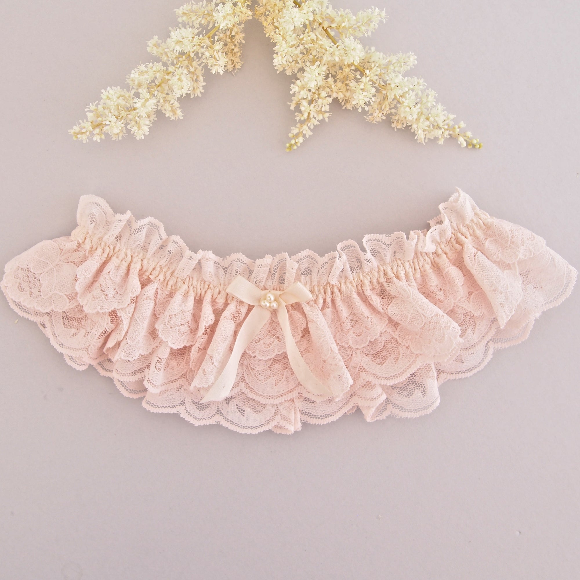 Garters Wedding: Camilla Pink Lace Wedding Garter With Pearls, Pale Pink