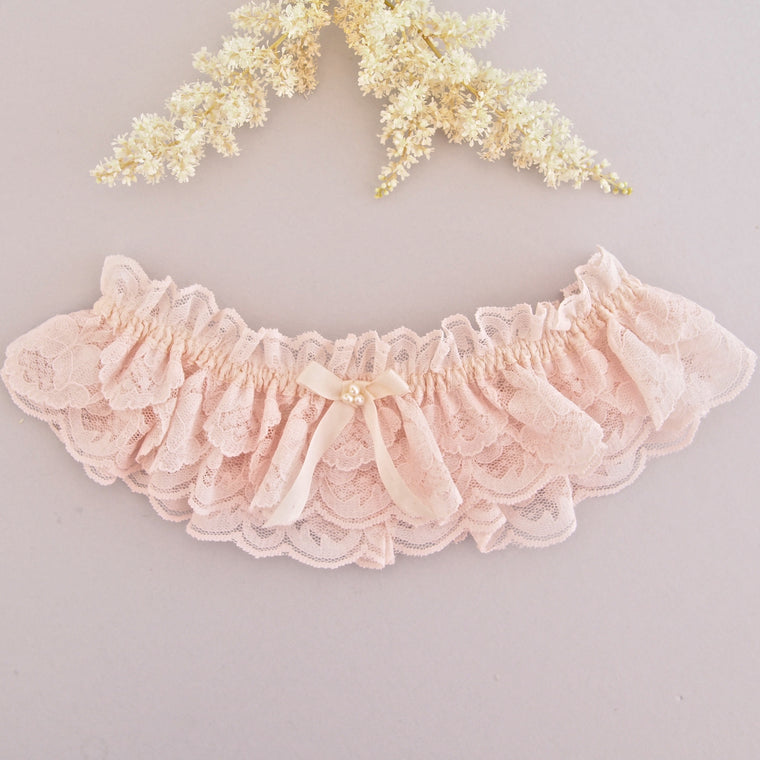 Camilla Pink Lace Wedding Garter with Pearls