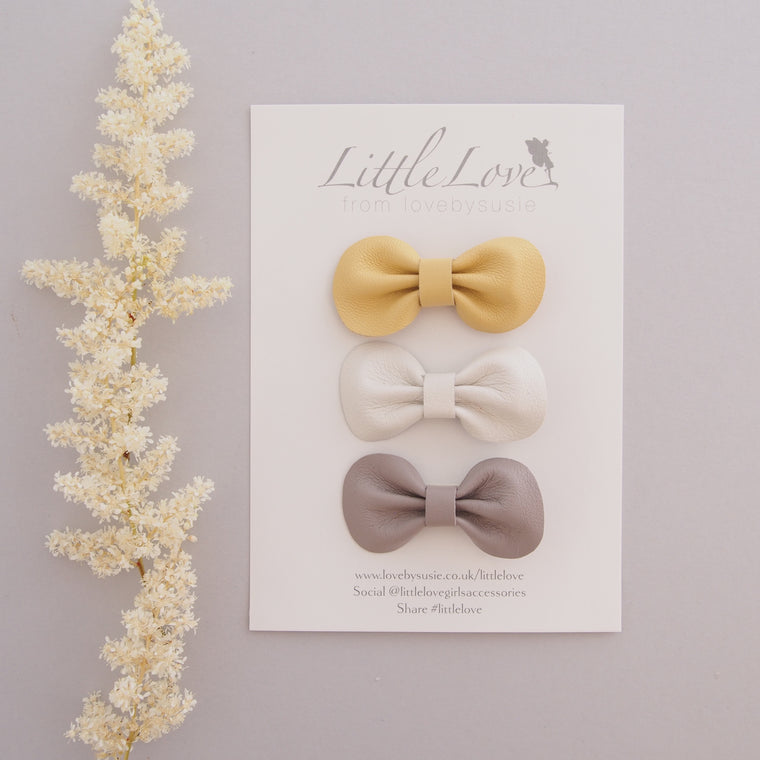 Mini Bow Hair Clip Set / HAZE