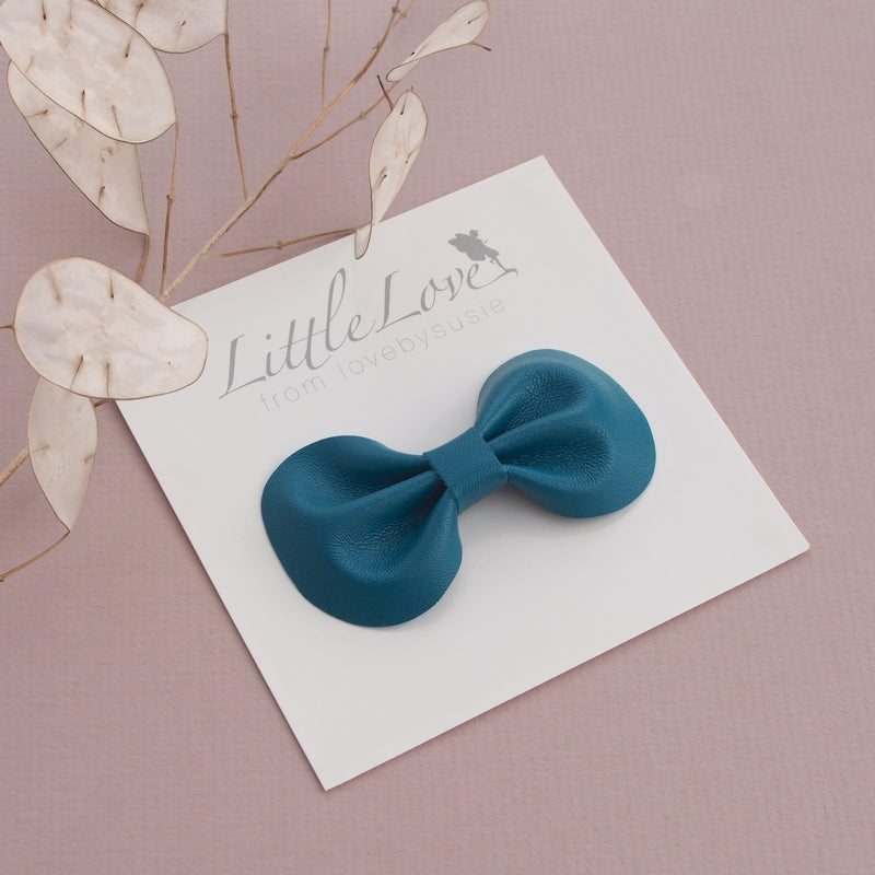 Teal Leather Bow Hair Clip, Teal Hair bow, Little Love Accessories, Genuine leather hair bow in teal green, teal bow for hair, Teal leather bow hair clips, Little Love Accessories, Girls Hair accessory