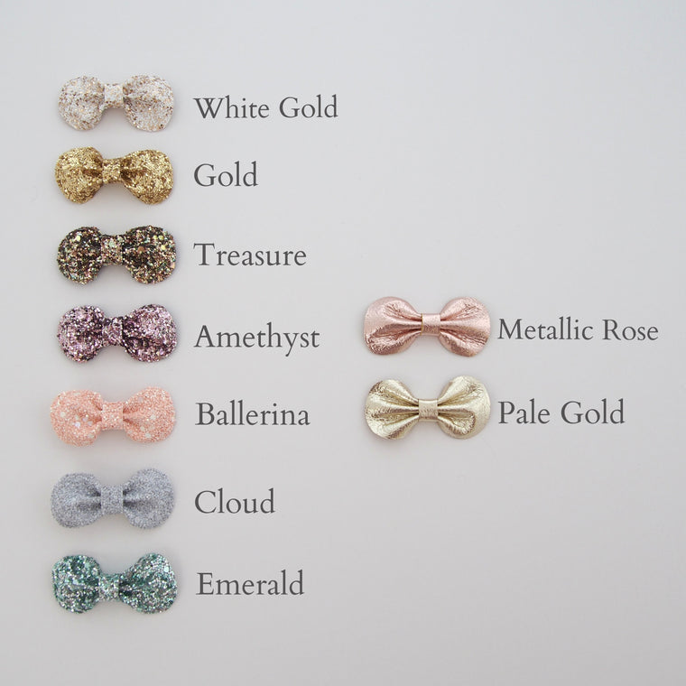 Mini Glitter Bow Set/ Custom Colours