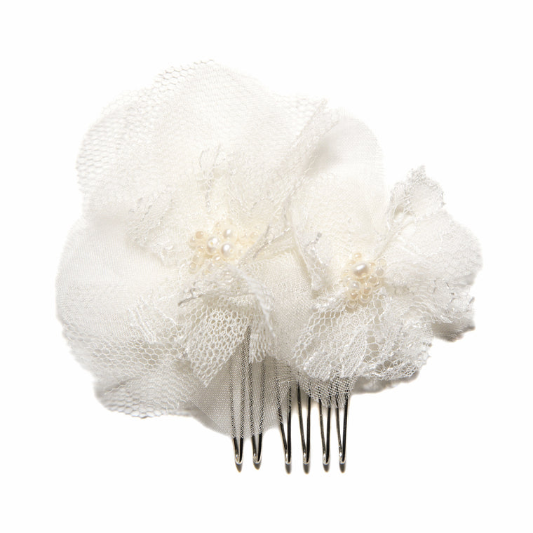Aurora Chantilly Lace Silk Flower Bridal Comb from LovebySusie Wedding Hair Accessories