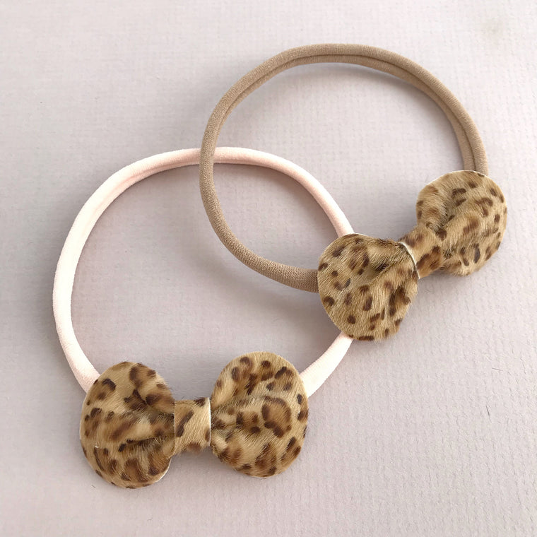 Baby Toddler Bow Headband / Faux Leopard