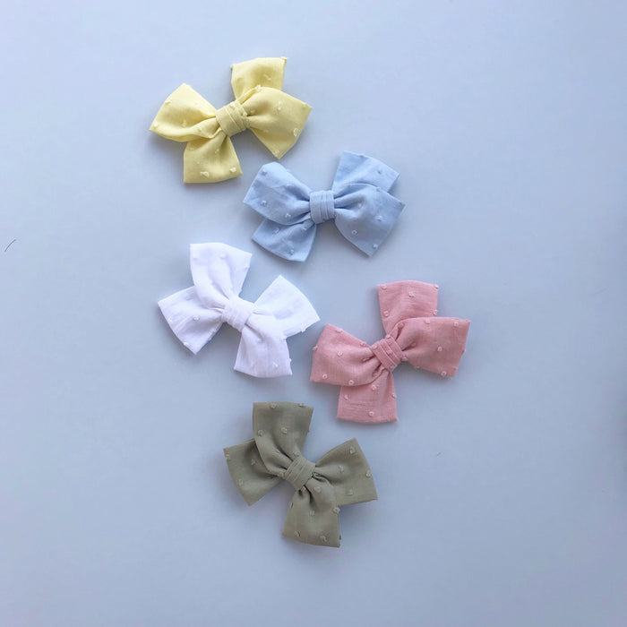 Cotton Bow Hair Clip/ Swiss Dot