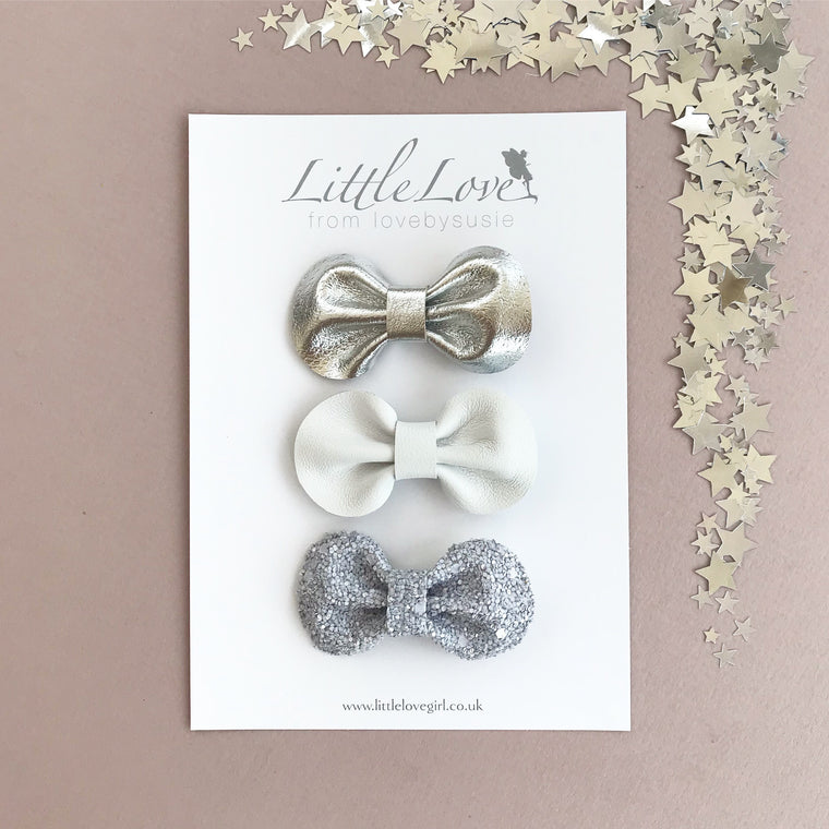 Mini Bow Hair Clip Set / FROST