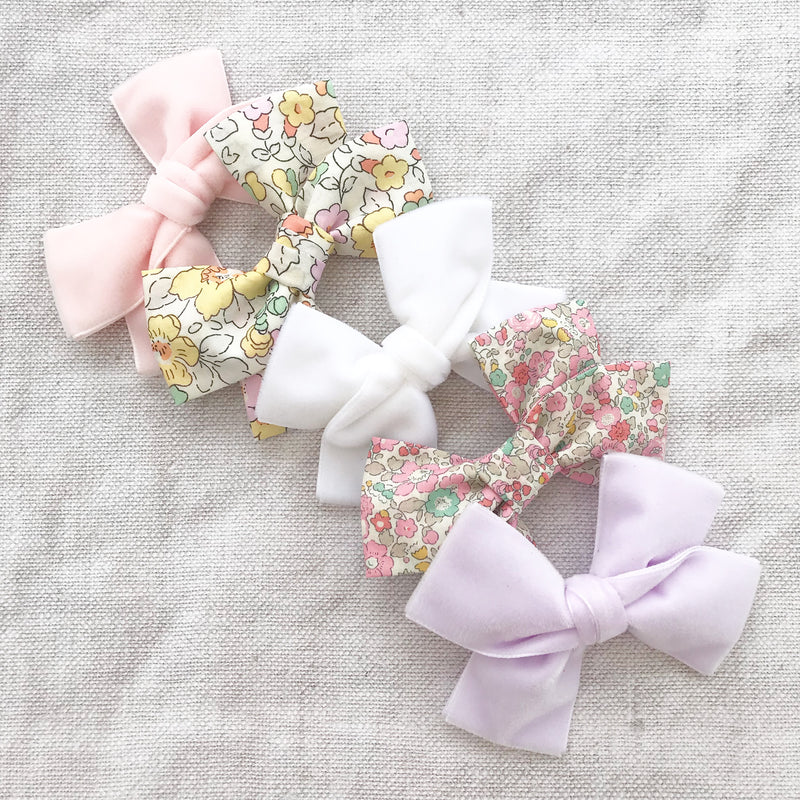 Little Love cotton bow hair clip Liberty Print collection for little girls, liberty floral hairbows, Liberty cotton spot hair clips, liberty hair bows, liberty floral bow hair clips, floral bow hair clips, cotton floral liberty hair clips, liberty print hair bows, pale pink cotton bow hair clip, pale pink cotton hair bow