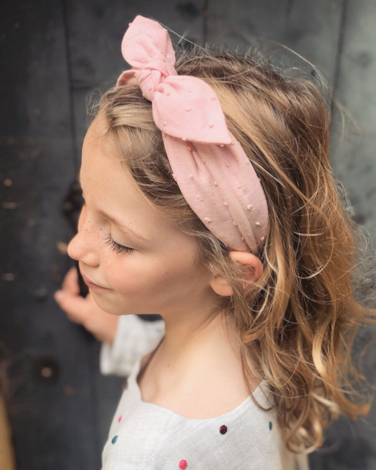 Swiss Dot Cotton Bow Headband