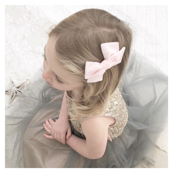 Flower Girl Velvet Bow Hair Clip/ White