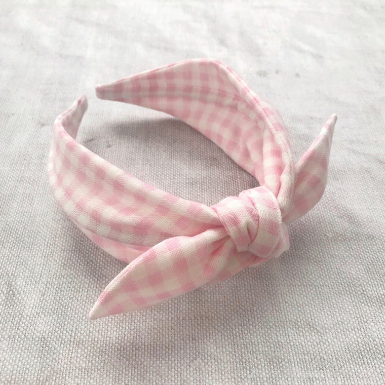 Gingham Cotton Bow Headband/Pink