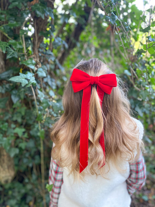 Little Love 'Ever After' velvet bow hair clip in true red, red velvet hairbow for christmas, red velvet hairbow, red velvet bow barrette, bow barrette, Christmas Hair bows, girls hair accessories uk, red Christmas hair bow, red velvet bow hair clip, Large Red Velvet Hair Bow, Girls Red Hair bow in velvet, little girls in red hair bows, vintage hair bows, little girl in green dress for christmas with red bow