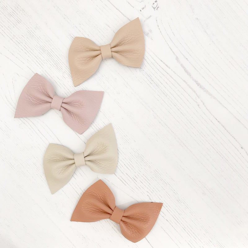 Harlow leather bow hair clip in beautiful muted pastels, neutrals, metallics, Girls Hair Clips, Little Love Hair Bow, Leather Bows, Gold Bow, Metallic Leather Hair bow, Pink Leather Bow, Little Love, Rose Gold Hair Bow, pink leather bow, Neutral leather bows, genuine leather bow hair clips, hair bows for girl
