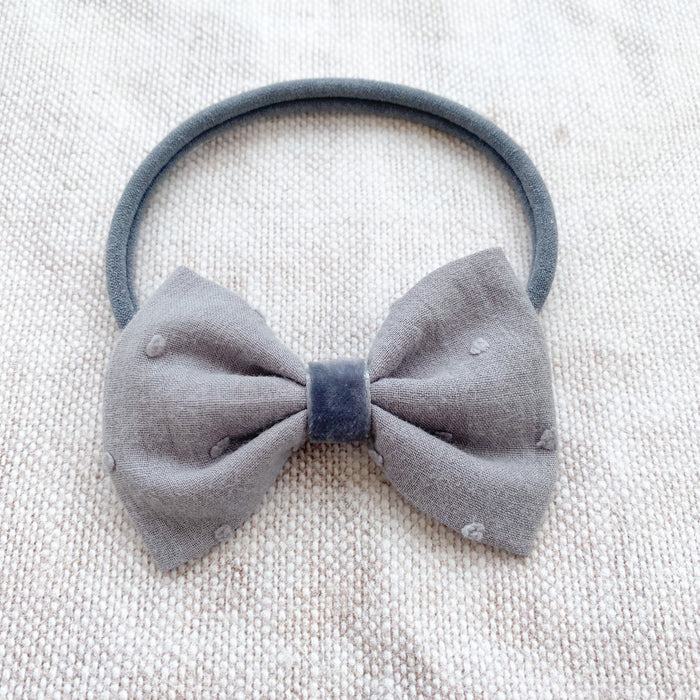 Swiss Dot Cotton Baby Bow/ Grey