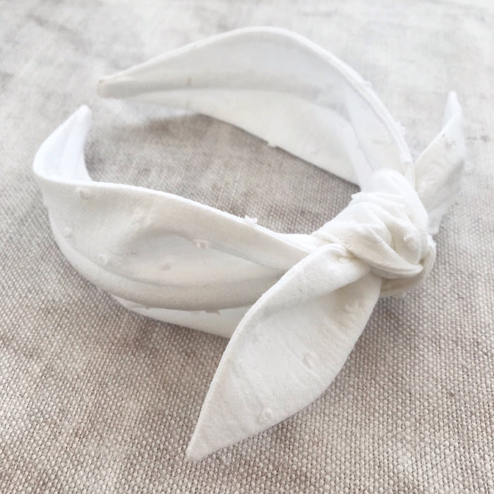 Swiss Dot Cotton Bow Headband/ WHITE