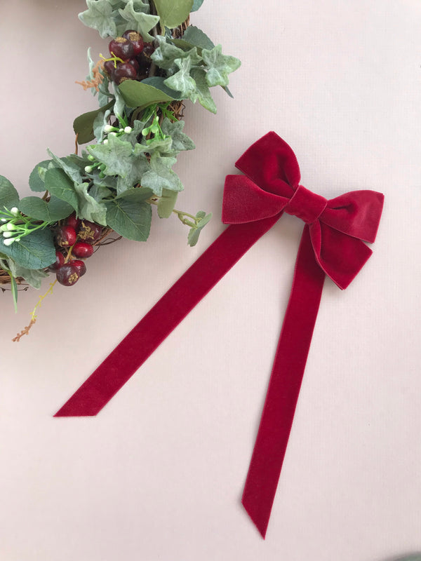 Velvet Fable Bow Barrette from Little Love, Oversize velvet hair bow, red velvet hair bow, pink velvet hair bow, red christmas bow hair clip, large velvet bow uk, red velvet hair bow, bow for flower girl, red Christmas hair bow, flower girl hair accessories uk, velvet bow barrette red bow