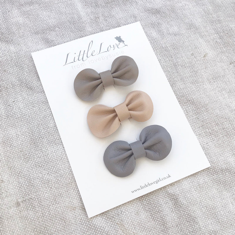 Mini Bow Hair Clip Set / NATURALS