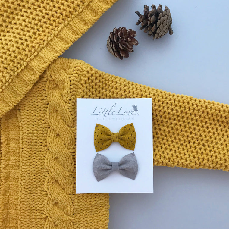 Suede Bow Hair Clip Set / Mustard & Grey