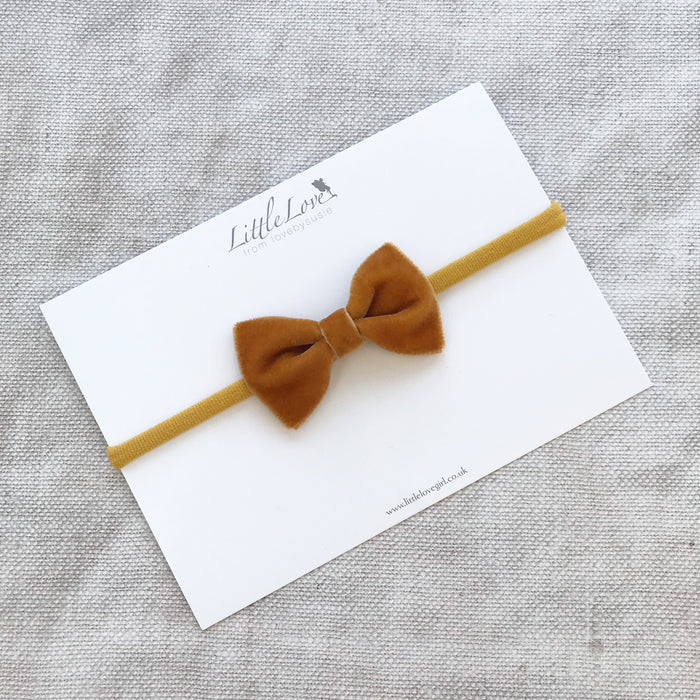 Velvet Bow Baby Headband/ Autumn Winter