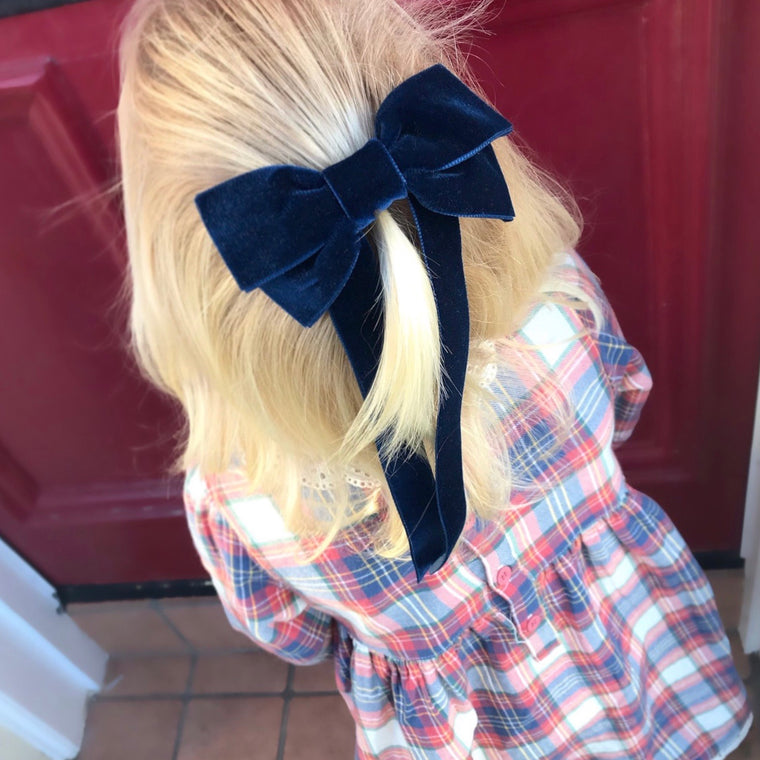 Oversized Velvet Bow Hair Barrette/ NAVY