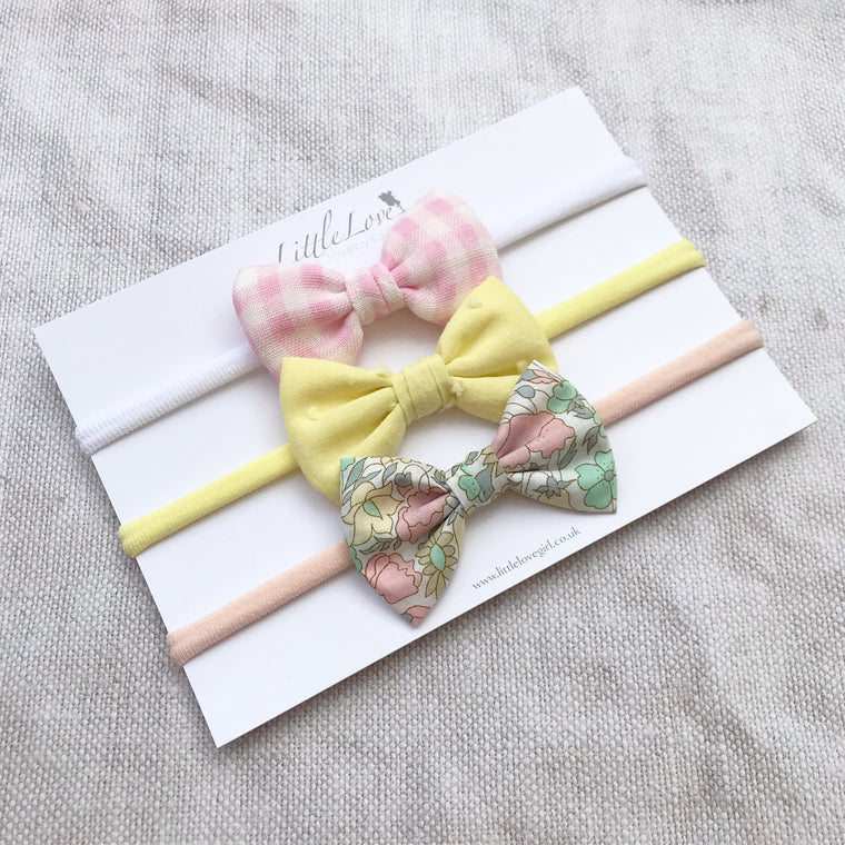 Cotton Baby Bow Headband Set /Spring