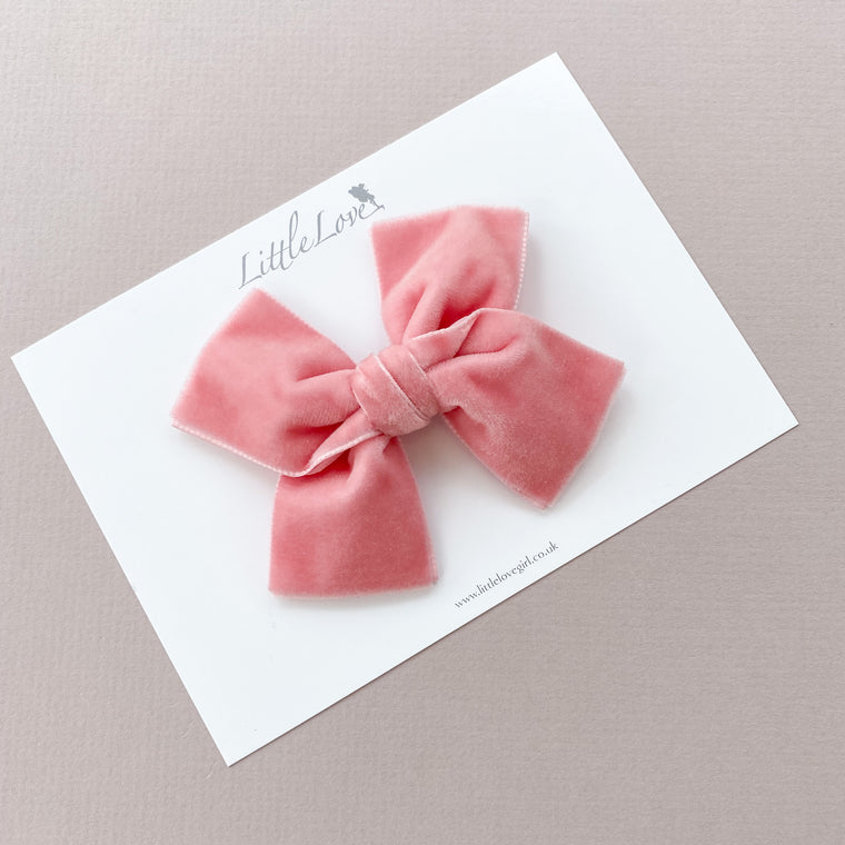 Velvet Bow Hair Clip/ Vintage Rose