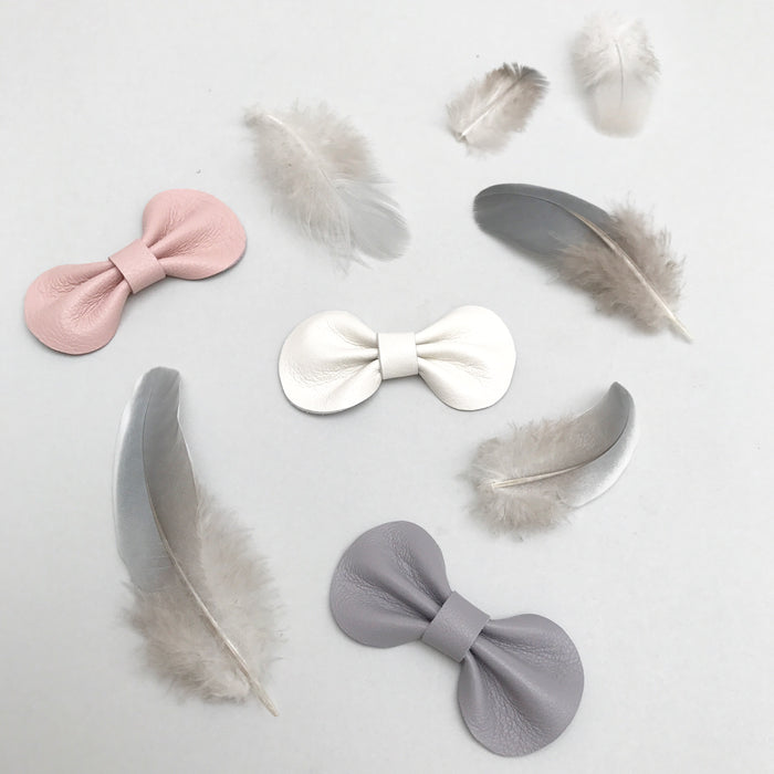 Little Love Accessories, Mini Leather Bow Hair Clips Set in Pink and Grey, Plume Bow Set,Baby or Toddler leather bow hair clip set in pretty pastels, Baby Hair Accessories, Baby Bow Hair Clip Set, Pink Baby Bows, Pink Toddler Bow, Grey Bow for toddler, Baby Hair Clips, Toddler Hair Clips, Leather Bows, Little Love