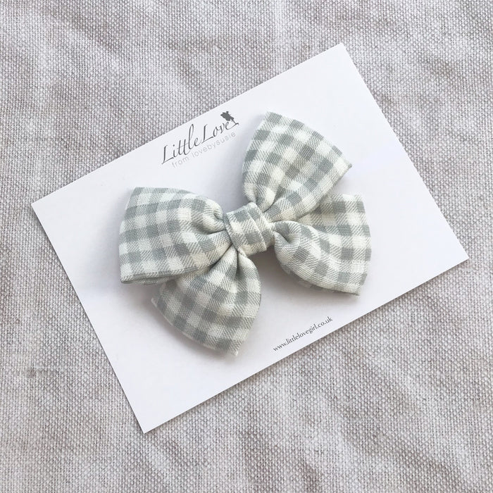 Gingham Bow Hair Clip/ GREY