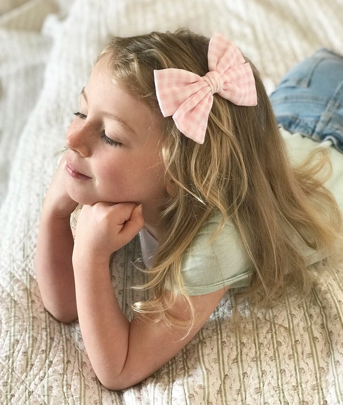 Gingham Bow Hair Clip or Headband