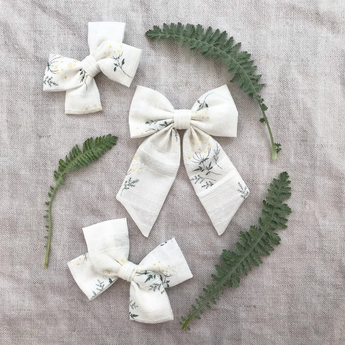 Cotton Bow Hair Clips / FERN